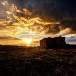 Sunrise-Building-Grassy Field