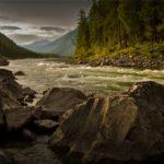 Rushing Stream, rocks, mountains